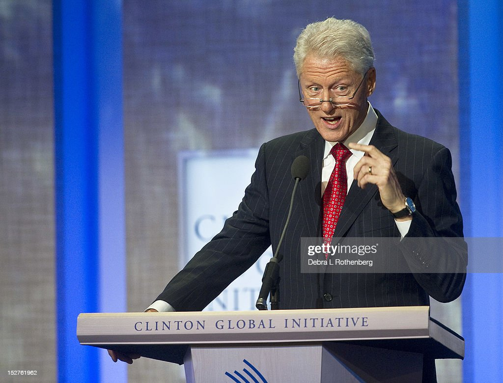 Former President <a gi-track='captionPersonalityLinkClicked' href=/galleries/search?phrase=Bill+Clinton&family=editorial&specificpeople=67203 ng-click='$event.stopPropagation()'>Bill Clinton</a> attends the Clinton Global Initiative 2012 at the New York Sheraton Hotel & Tower on September 25, 2012 in New York City.