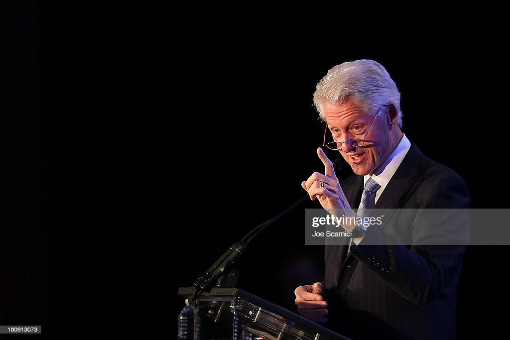 Former President <a gi-track='captionPersonalityLinkClicked' href=/galleries/search?phrase=Bill+Clinton&family=editorial&specificpeople=67203 ng-click='$event.stopPropagation()'>Bill Clinton</a> attends Will.I.Am's annual TRANS4M Day Conference focusing on TRANS4Ming America in 2013 on February 7, 2013 in Los Angeles, California.