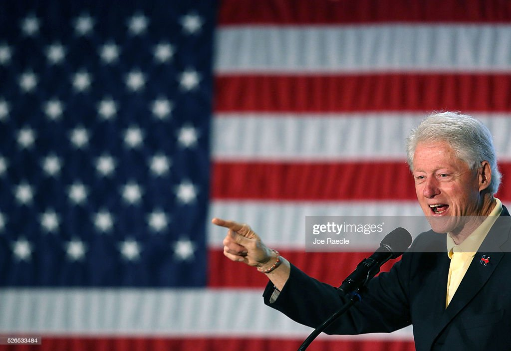 Former President Bill Clinton campaigns for his wife, Democratic presidential candidate Hillary Clinton, as he speaks during the Howard County Democratic party's pre-primary pancake breakfast at the United Auto Workers Local 685 Hall on April 30, 2016 in Kokomo, Indiana. Presidential candidates continue to campaign across the state leading up to Indiana's primary day on Tuesday.