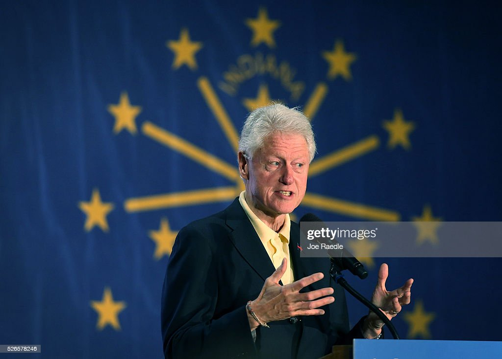 Former President <a gi-track='captionPersonalityLinkClicked' href=/galleries/search?phrase=Bill+Clinton&family=editorial&specificpeople=67203 ng-click='$event.stopPropagation()'>Bill Clinton</a> campaigns for his wife, Democratic presidential candidate Hillary Clinton, as he speaks during the Howard County Democratic party��s pre-primary pancake breakfast at the United Auto Workers Local 685 Hall on April 30, 2016 in Kokomo, Indiana. Presidential candidates continue to campaign across the state leading up to Indiana's primary day on Tuesday.