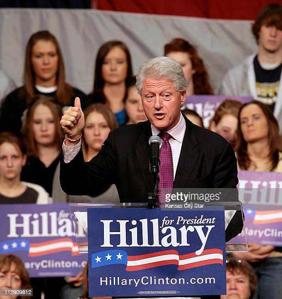 Former President Bill Clinton emphasizes a point while he talks to the crowd during Clinton's visit to stump for his wife Democratic presidential...