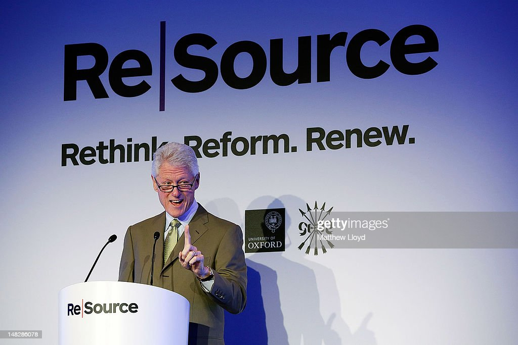 Former President Bill Clinton, Founder of the William J.Clinton Foundation & 42nd President of the United States delivers his keynote address at the ReSource 2012 conference on July 13, 2012 in Oxford, England. The ReSource 2012 conference is a 2 day ground-breaking forum on resource scarcity and volatility, dedicated to engaging the financial and business community on the issues of food, water, energy supply and global growth.