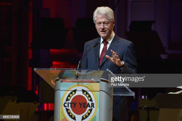 Former President Bill Clinton receives the City Year Legacy Award at a Boston Pops Concert Celebrating City Year's 25th Anniversary at Symphony Hall...
