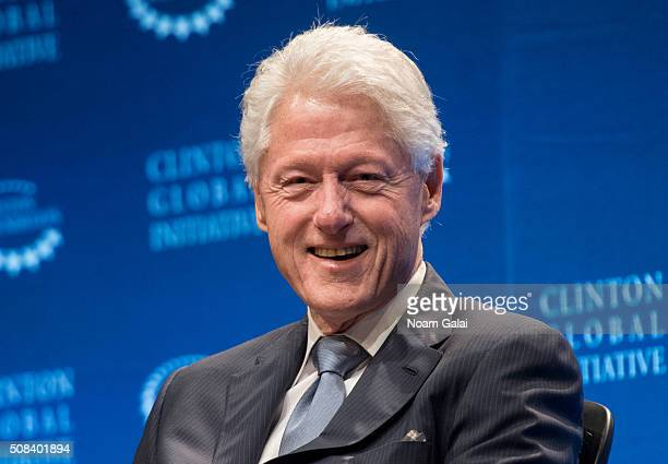 Former President Bill Clinton speaks at The Clinton Global Initiative Winter Meeting at Sheraton New York Times Square on February 4 2016 in New York...