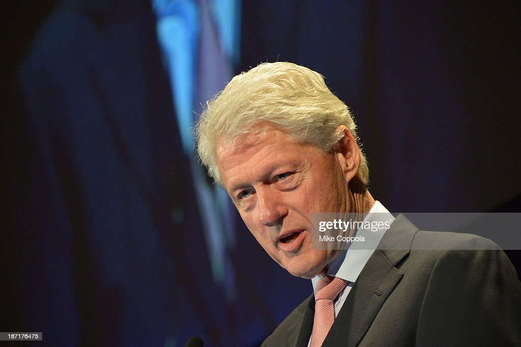 Former President Bill Clinton speaks onstage at the Annual Freedom Award Benefit hosted by the International Rescue Committee at the Waldorf-Astoria hotel on November 6, 2013 in New York City.