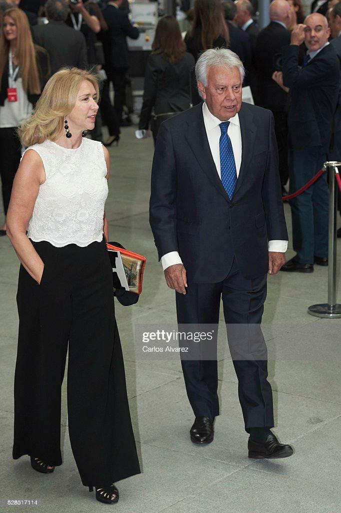 Former President Felipe Fonzalez and wife Maria del Mar Garcia Vaquero attend 'Ortega Y Gasset' journalism awards 2016 at Palacio de Cibeles on May 05, 2016 in Madrid, Spain.