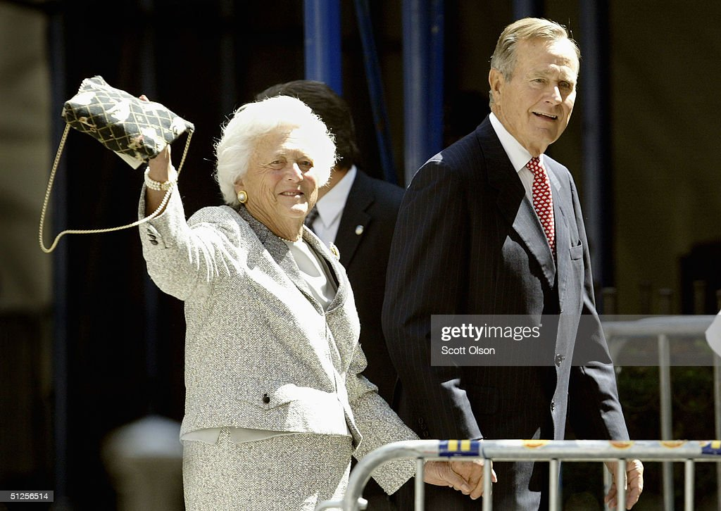 Former President George Bush and his wife Barbara walk toward the Church of Our Saviour Catholic church in September 2 2004 in New York City The...