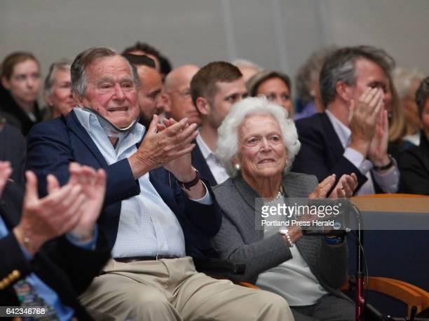 Former President George HW Bush and Barbara Bush attend a talk by TIME magazine managing editor Nancy Gibbs and deputy managing editor Michael Duffy...