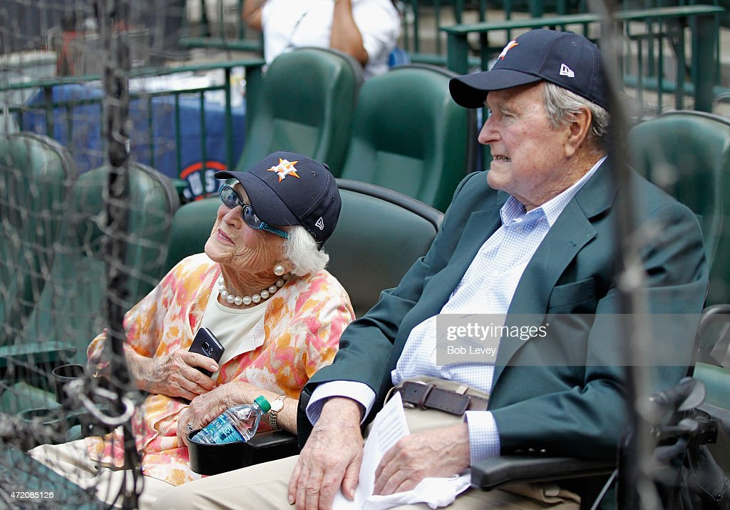 Former President George HW Bush and First Lady Barbara Bush at Minute Maid Park on May 3 2015 in Houston Texas