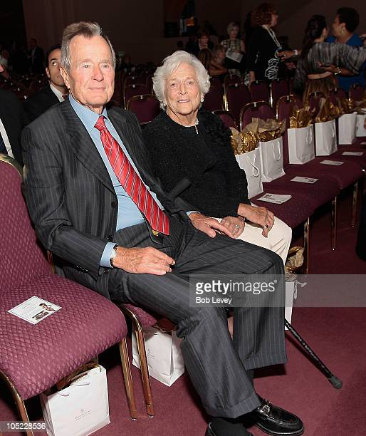 Former President George HW Bush and first lady Barbara Bush attend day two of Fashion Houston 2010 Presented By Audi at the Wortham Theatre Center on...