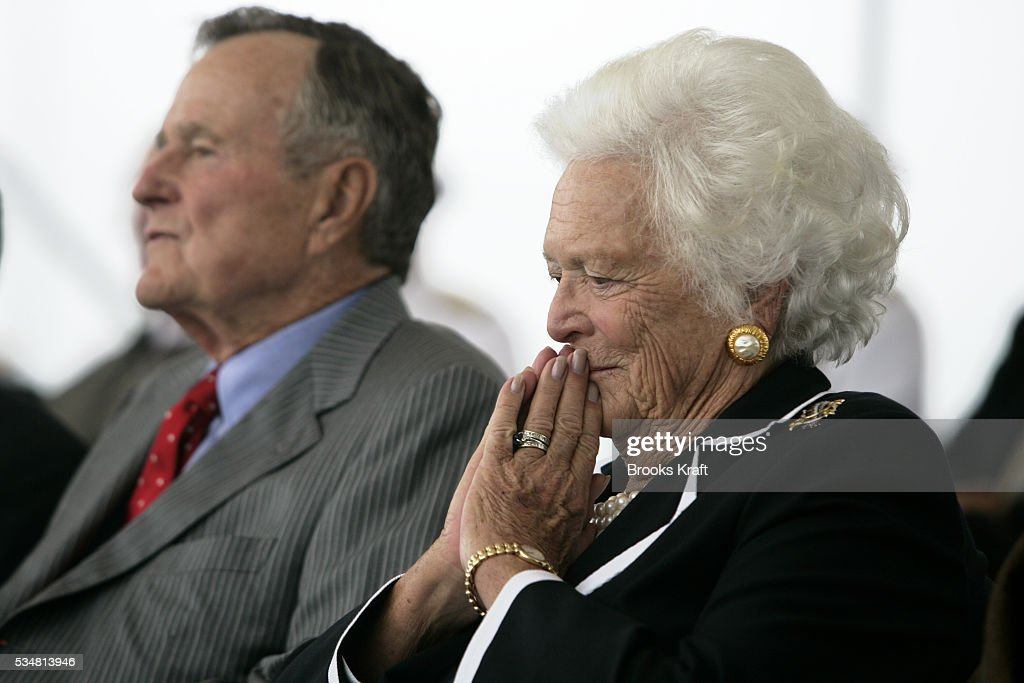 Former President George HW Bush and former first lady Barbara Bush at the christening ceremony of the USS George HW Bush at Northrop Grumman's...