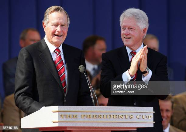 Former President George HW Bush and former President Bill Clinton are introduced during the Opening Ceremonies of the 2005 Presidents Cup on...