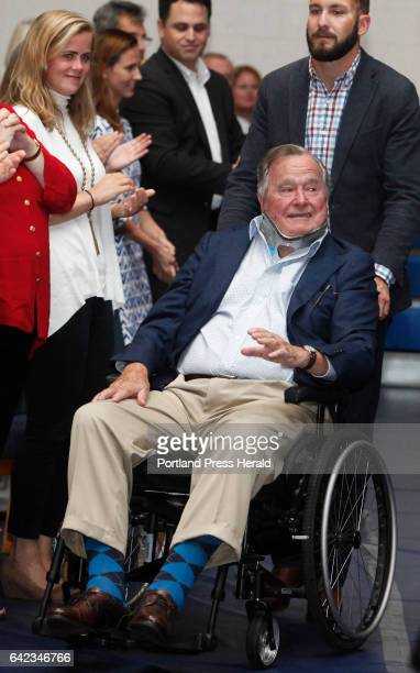 Former President George HW Bush arrives at a talk by TIME magazine managing editor Nancy Gibbs and deputy managing editor Michael Duffy as part of...