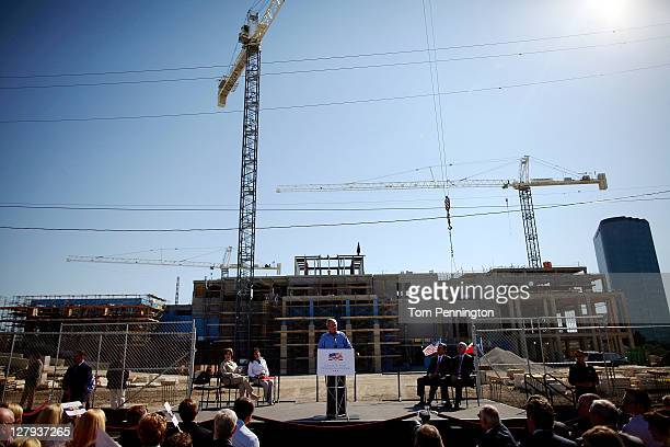 Former President George W Bush addresses the audience during the George W Bush Presidential Center Topping Out Ceremony on October 3 2011 in Dallas...