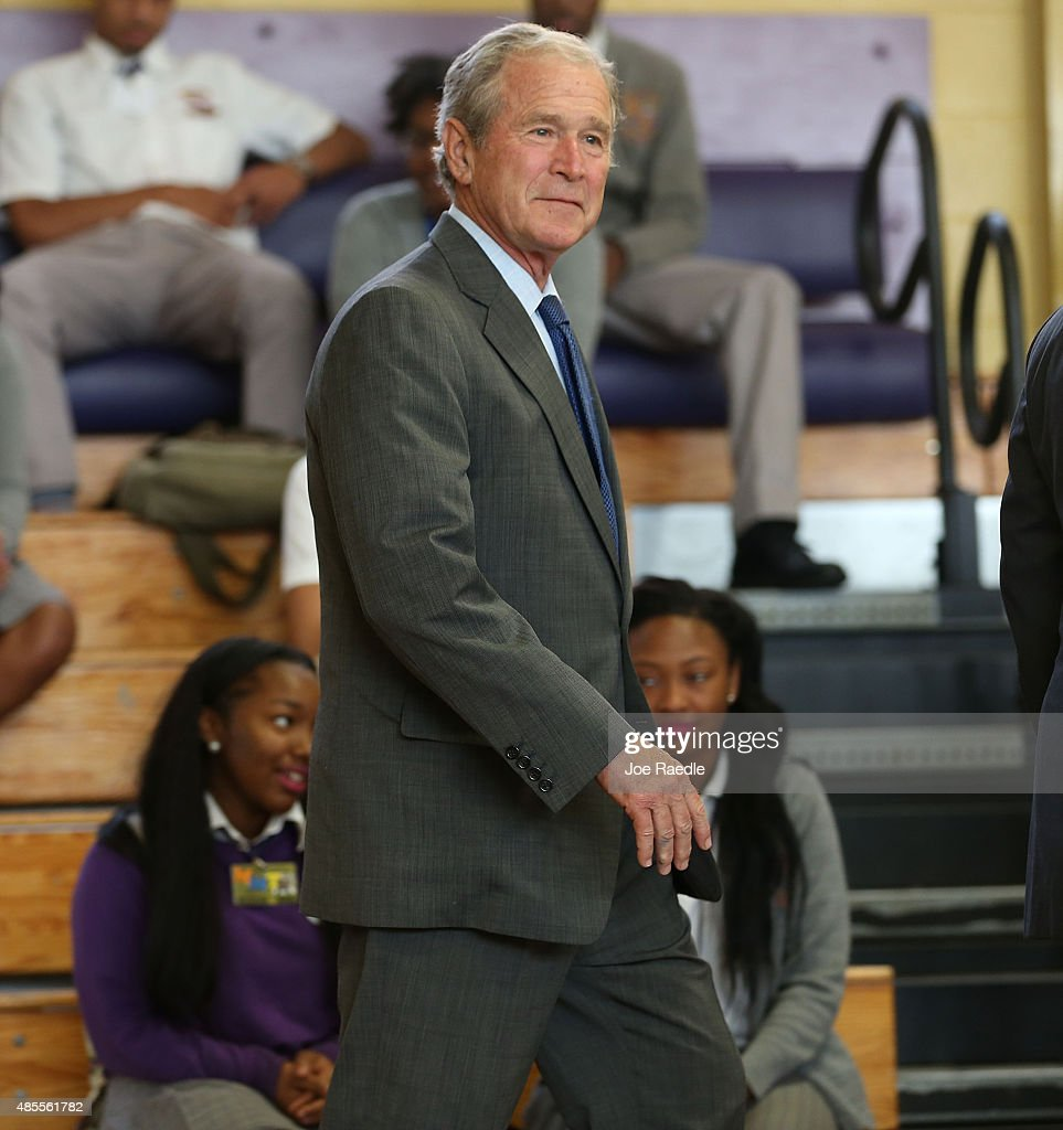 Former President George W Bush attends an event at Warren Easton High School to mark the 10th anniversary of Hurricane Katrina on August 28 2015 in...