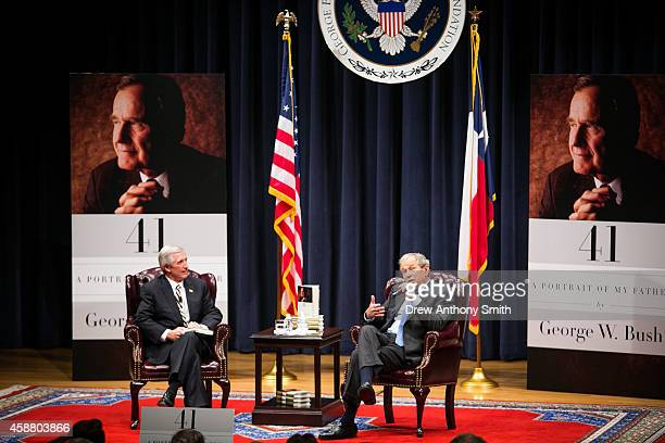 Former President George W Bush gives a talk about his book '41 A Portrait of My Father' in the George Bush Presidential Library Center on November 11...
