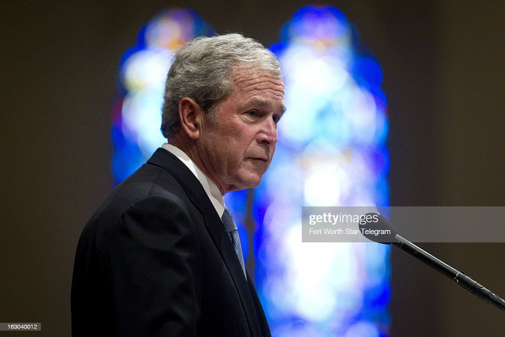 Former president George W. Bush, gives a tribute for Van Cliburn at his funeral at Broadway Baptist Church in Fort Worth, Texas, Sunday, March 3, 2013.