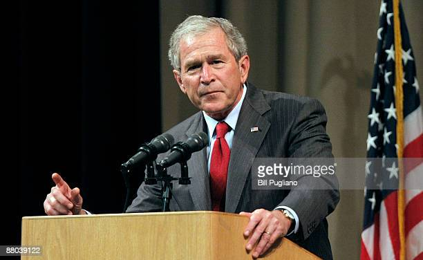 Former President George W Bush speaks at the Economic Club of Southwestern Michigan May 28 2009 in Benton Harbor Michigan Bush was to discuss his...