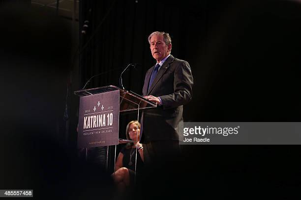 Former President George W Bush speaks during an event at Warren Easton High School to mark the 10th anniversary of Hurricane Katrina on August 28...