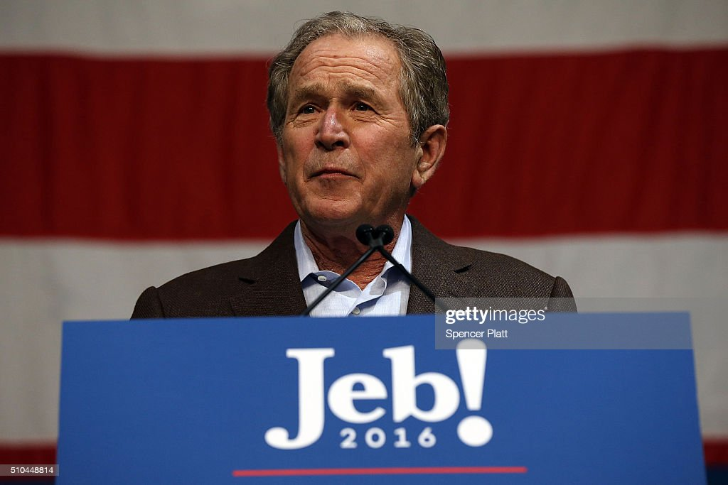 Former President George W Bush speaks in support of his brother Republican presidential candidate Jeb Bushat a campaign rally on February 15 2016 in...