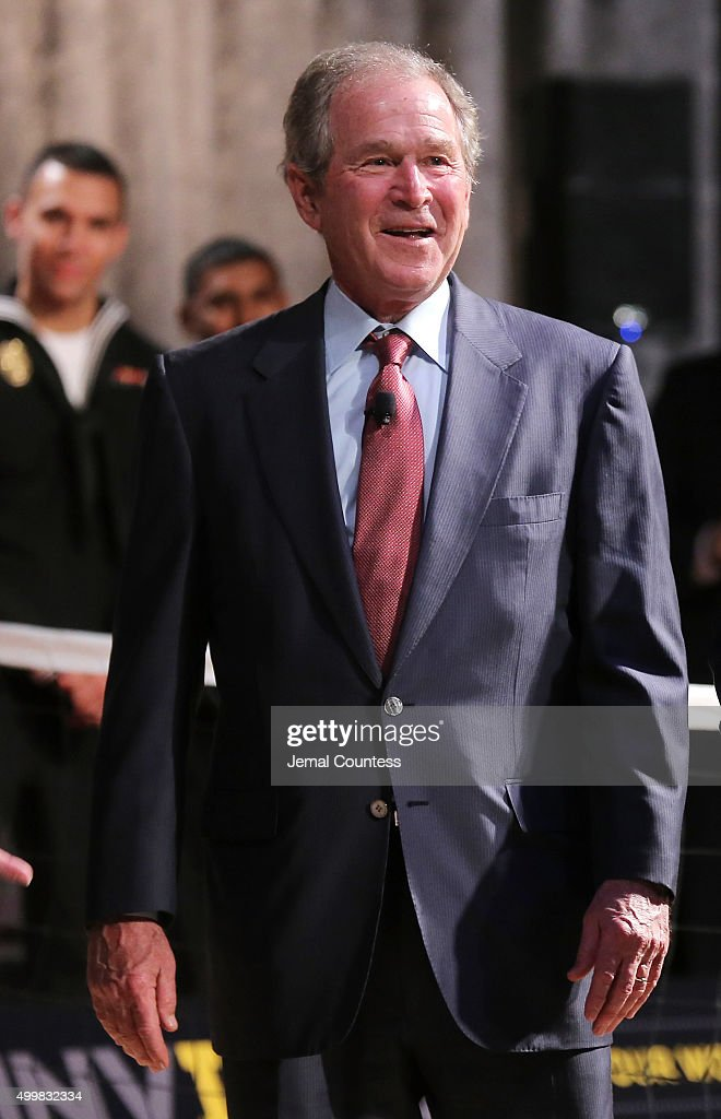 Former President George W Bush speaks to aspiring Invictus competitors during an event to announce a major initiative prior to the 2016 Invictus...