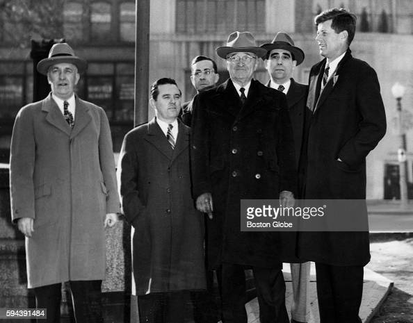 Former President Harry S Truman center John F Kennedy and others post for a photo in Boston on March 8 1954 He was in town for nine hours during...