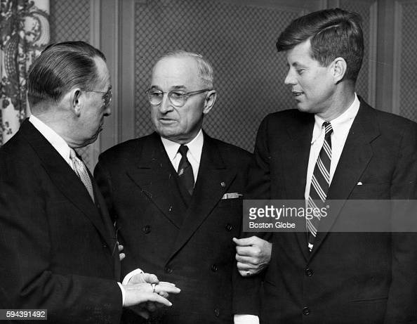 Former President Harry S Truman center John F Kennedy right and another chat in Boston on March 8 1954 He was in town for nine hours during which he...