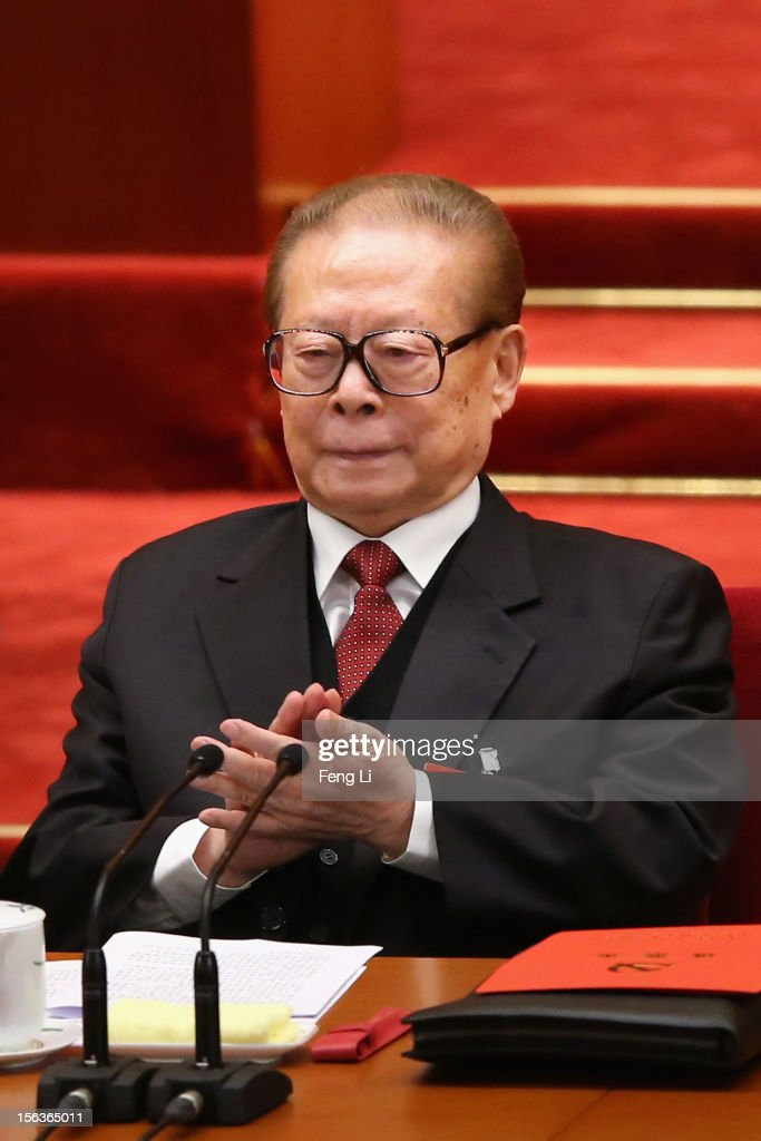 Former President <a gi-track='captionPersonalityLinkClicked' href=/galleries/search?phrase=Jiang+Zemin&family=editorial&specificpeople=159399 ng-click='$event.stopPropagation()'>Jiang Zemin</a> (R) attends the closing session of the 18th National Congress of the Communist Party of China (CPC) at the Great Hall of the People on November 14, 2012 in Beijing, China. Members of the Standing Committee of the Political Bureau of the new CPC Central Committee will meet with journalists on November 15, 2012.