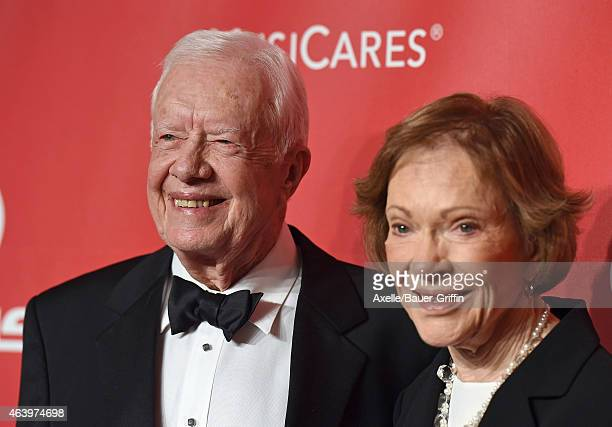 Former President Jimmy Carter and wife Rosalynn Carter arrive at the 2015 MusiCares Person of The Year honoring Bob Dylan at Los Angeles Convention...