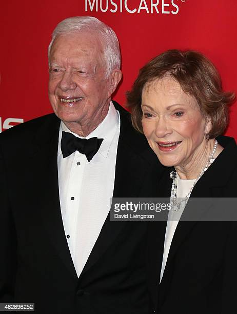 Former President Jimmy Carter and wife Rosalynn Carter attend the 2015 MusiCares Person of the Year Gala honoring Bob Dylan at the Los Angeles...