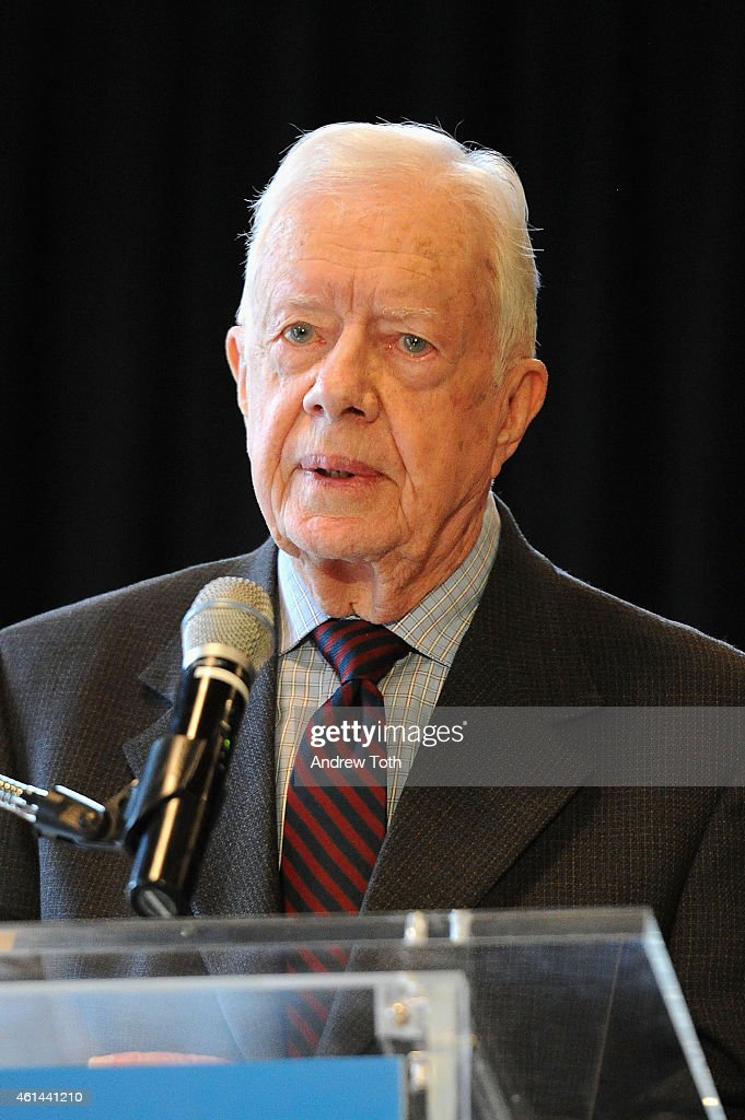 Former President Jimmy Carter attends 'Countdown To Zero Defeating Disease' preview press conference at American Museum of Natural History on January...