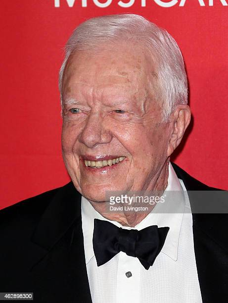 Former President Jimmy Carter attends the 2015 MusiCares Person of the Year Gala honoring Bob Dylan at the Los Angeles Convention Center on February...