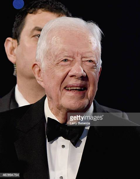 Former President Jimmy Carter attends the 25th anniversary MusiCares 2015 Person Of The Year Gala honoring Bob Dylan at the Los Angeles Convention...