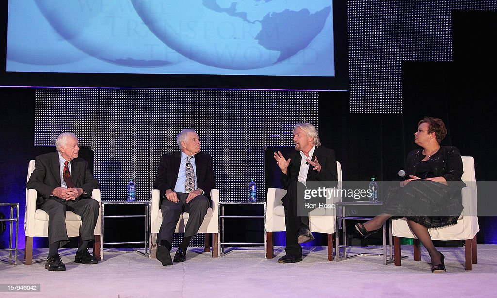 Former President Jimmy Carter, Captain Planet Foundation Co-Founder Ted Turner, Sir Richard Branson and Lisa Jackson participate in The Conversation Presented by Fisker during the Captain Planet Foundation's benefit gala at Georgia Aquarium on December 7, 2012 in Atlanta, Georgia.