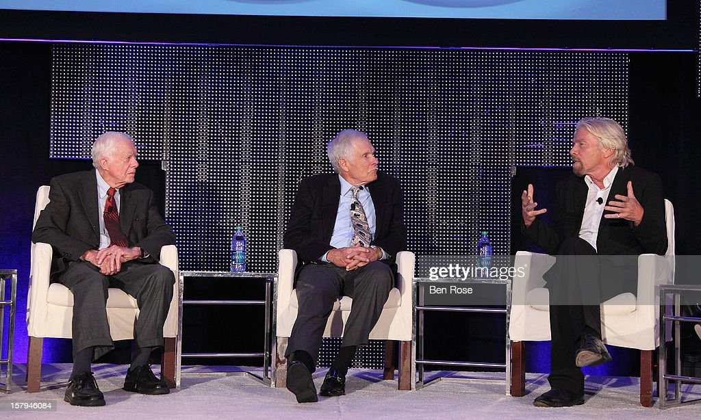 Former President Jimmy Carter, Captain Planet Foundation Co-Founder Ted Turner and Sir Richard Branson participate in The Conversation Presented by Fisker during the Captain Planet Foundation's benefit gala at Georgia Aquarium on December 7, 2012 in Atlanta, Georgia.