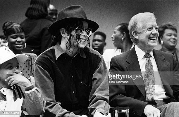 Former President Jimmy Carter cochairman of the Heal Our Children/Heal The World initiative with Michael Jackson invites Michael Jackson to visit...