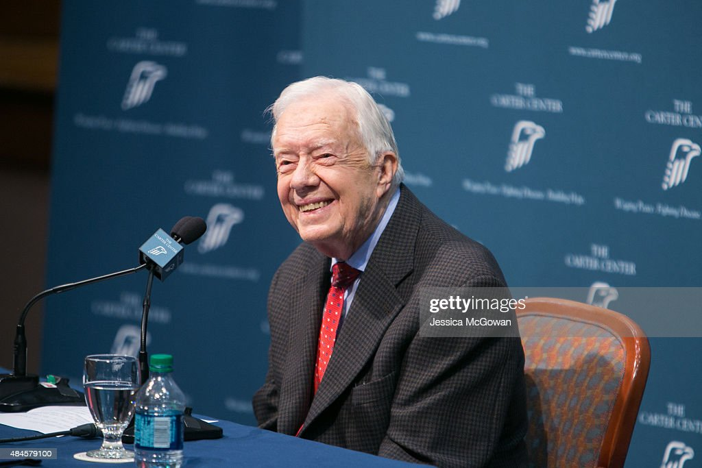 Former President Jimmy Carter discusses his cancer diagnosis during a press conference at the Carter Center on August 20, 2015 in Atlanta, Georgia. Carter confirmed that he has melanoma that has spread to his liver and brain and will start treatment today.