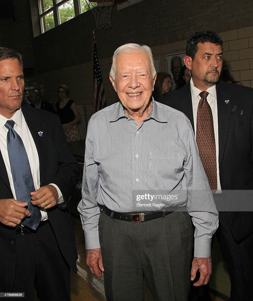 Former President Jimmy Carter signs copies of 'A Full Life Reflections At Ninety' at Ridgewood YMCA YWCA of Bergen County on July 8 2015 in Ridgewood...