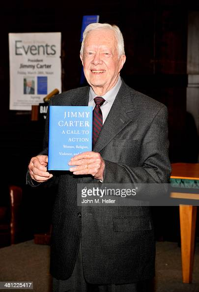 Former President Jimmy Carter signs copies of his new book 'A Call To Action' at the Barnes Noble Bookstore at The Grove on March 28 2014 in Los...
