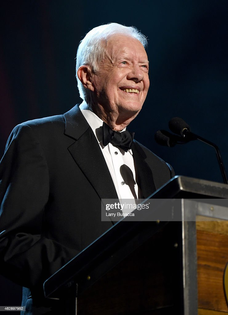 Former President Jimmy Carter speaks onstage at the 25th anniversary MusiCares 2015 Person Of The Year Gala honoring Bob Dylan at the Los Angeles...