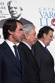 Former President Jose Maria Aznar Peruvian author and Nobel Prize in Literature Mario Vargas Llosa and President Mariano Rajoy attend 'Vargas Llosa...