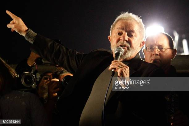 Former President Luiz Inacio Lula da Silva during his support at Avenida Paulista in São Paulo Brazil for the quotoutside Temerquot quotDirectas...