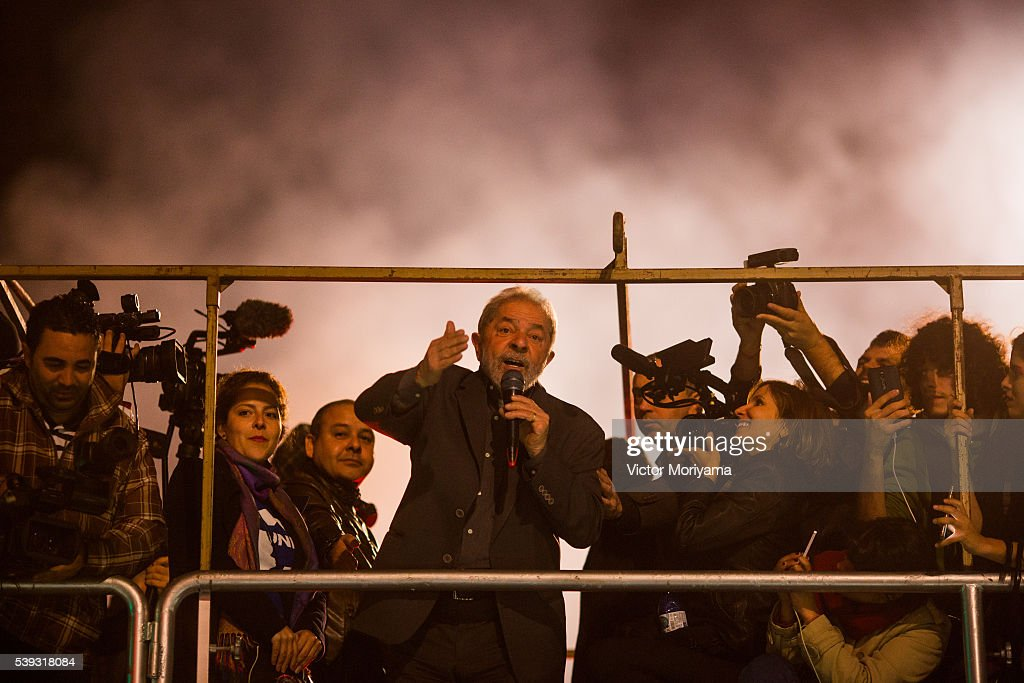 Former President <a gi-track='captionPersonalityLinkClicked' href=/galleries/search?phrase=Luiz+Inacio+Lula+da+Silva&family=editorial&specificpeople=211609 ng-click='$event.stopPropagation()'>Luiz Inacio Lula da Silva</a> during protest against President Michel Temer. Lula argues that the impeachment of President Dilma Rousseff was a coup against democracy on June 10, 2016 in Sao Paulo, Brazil.