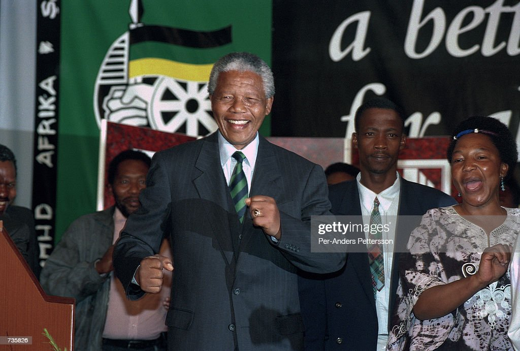 Former President <a gi-track='captionPersonalityLinkClicked' href=/galleries/search?phrase=Nelson+Mandela&family=editorial&specificpeople=118613 ng-click='$event.stopPropagation()'>Nelson Mandela</a> of South Africa at the ANC victory party on May 2, 1994 at Carlton Hotel in Johannesburg. He celebratated victory in the first democratic election in South Africa in 1994. Mr mandela retired after one 5-year term in 1999.