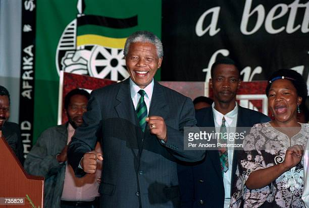 Former President Nelson Mandela of South Africa at the ANC victory party on May 2 1994 at Carlton Hotel in Johannesburg He celebratated victory in...