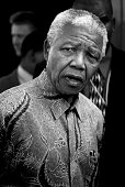 Former President Nelson Mandela of South Africa speaks to school children during a election stop on May 1 1999 in Eastcourt South Africa The ANC...