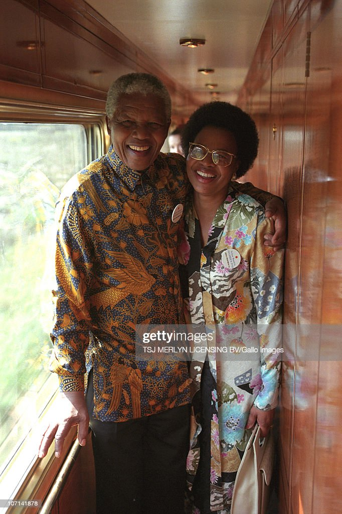 Former president <a gi-track='captionPersonalityLinkClicked' href=/galleries/search?phrase=Nelson+Mandela&family=editorial&specificpeople=118613 ng-click='$event.stopPropagation()'>Nelson Mandela</a> with his wife Graca Machel during a journey on the Blue Train.