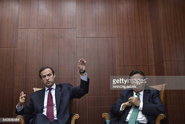 Former President of Bolivia Jorge Quiroga speaks watched by former President of Peru Alejandro Toledo during a discussion on Venezuela and the OAS at...