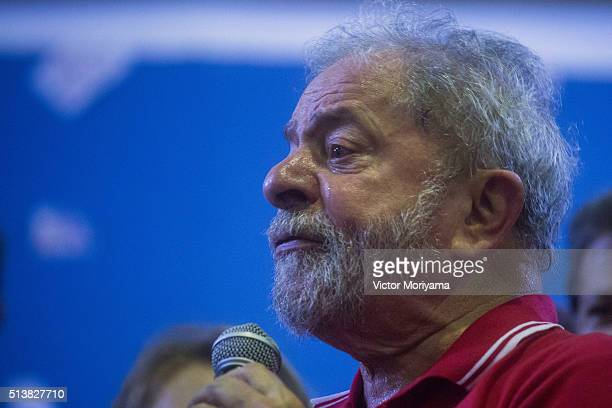 Former President of Brazil Luiz Inacio Lula da Silva attends a rally at the Partido dos Trabalhadores headquarters on March 4 in Sao Paulo Brazil...