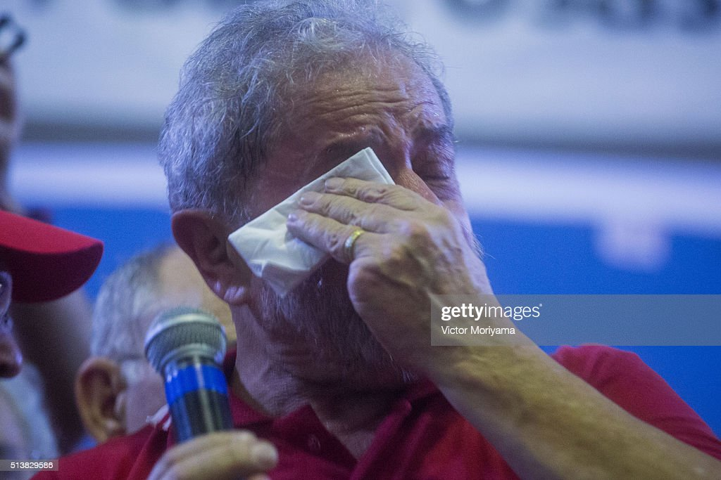 Former President of Brazil, Luiz Inacio Lula da Silva, cries at a rally at the Partido dos Trabalhadores headquarters on March 4, 2016, in Sao Paulo, Brazil. Lula is accused of corruption and embezzlement in the Federal Police investigation involving fraud at Petrobras company.